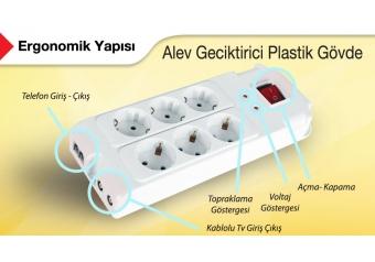 S-link SPG77-6-15 6lı 1.5mt Akım Koruyuculu Priz Beyaz Renk