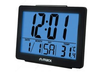Mack MCT-8017 Masa Üstü Saat Siyah Alarm-Snooze-Calender-Thermometer-blacklight-Date-Day-Humidity