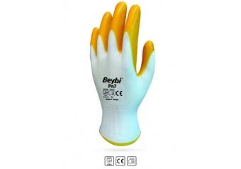 Beybi Nitril Poly PN7 10 Beden Beyaz Sarı  Eldiven 12li Paket