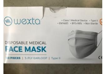 Wexta Lastik Halkalı 50li Telli 3 Katlı Tek Tek Poşetli Maske Meltblown Filtreli