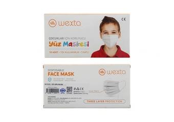 Wexta STL3PLY Çocuk Koruyucu Yüz Maskesi 10'lu Beyaz