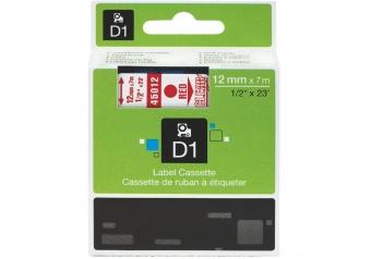 Dymo 45012 Şeffaf Üzerine Kırmızı Muadil Etiket