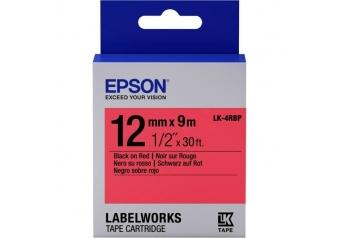 Epson LK-4RBP Kırmızı Üzerine Siyah Orjinal Etiket