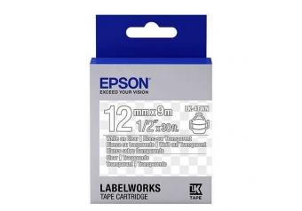 Epson LK-4TWN Transparan Üzerine Beyaz Orjinal Etiket