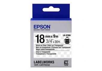 Epson LK-5TBN Transparan Üzerine Siyah Orjinal Etiket