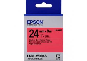 Epson LK-6RBP Kırmızı Üzerine Siyah Orjinal Etiket